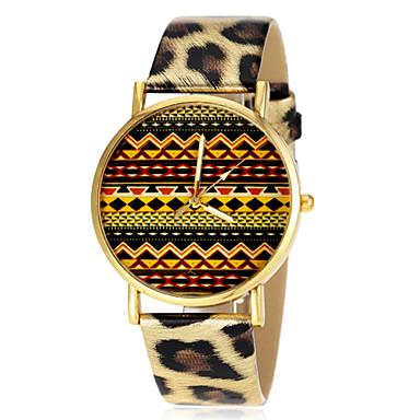 Women's Totem Pattern Leopard Print PU Band Quartz Wrist Watch (Assorted Colors)