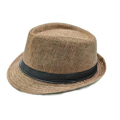economico Abbigliamento uomo-Per uomo Vintage Cappello di paglia Cappello da sole-Paglia Tinta unita Estate Marrone Vino Cachi