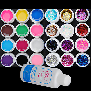25PCS mixs Color UV Color Gel Pure termen de 12 +12 Glitter Hexagon Sheet + Demachiant Plus (Random Color)