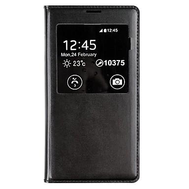Pentru Samsung Galaxy Carcasă cu Fereastră / Auto Sleep / Wake / Întoarce Maska Corp Plin Maska Culoare solida PU piele Samsung S5