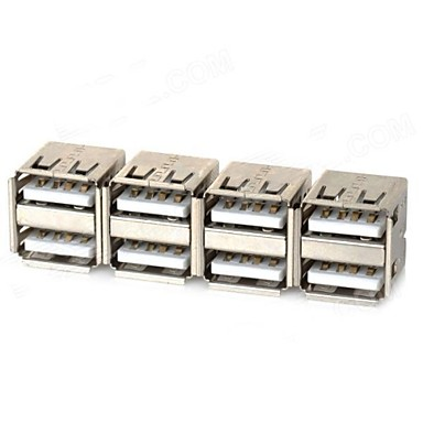 Çift USB Erkek Adaptör - Gümüş (4 ADET)
