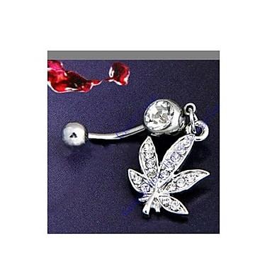 Kadın Vücut Mücevheri Navel & Bell Button Rings Kristal imitasyon Pırlanta Leaf Shape Mücevher Günlük