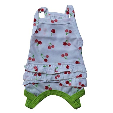Cat Dog Shirt / T-Shirt Dog Clothes Fruit Red Green Cotton Costume For Spring &  Fall