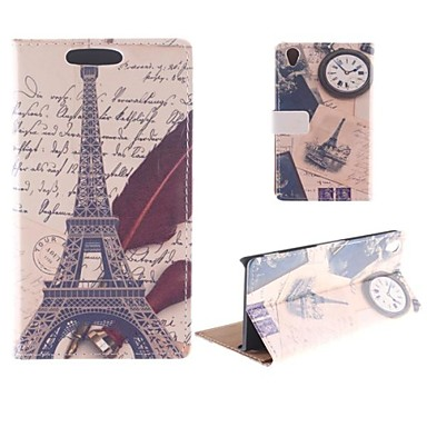 The Eiffel Tower Design Postcard Mode PU Full Body Case with Card Slot for Sony Xperia Z2