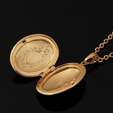 Uçlu Kolyeler / Lockets Kolye - 18K Altın Kaplama, Altın Kaplama Altın Kolyeler Mücevher Uyumluluk Düğün