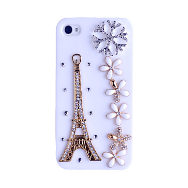 Eiffel Tower and  Flowers Pattern Hard Case for iPhone4/4S