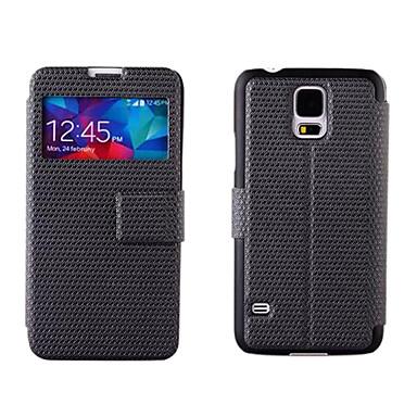 Için Samsung Galaxy Kılıf Satandlı / Pencereli / Flip Pouzdro Tam Kaplama Pouzdro Solid Renkli PU Deri Samsung S5