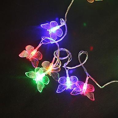 5M 40-LED renkli Kelebek Işık Telli Düğün Noel Lambası (AC220V)