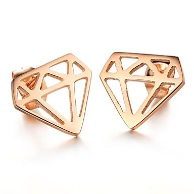 Moda Daire Rose Gold Plate Hollow Diamond-Şekil Küpe (1 Çift)