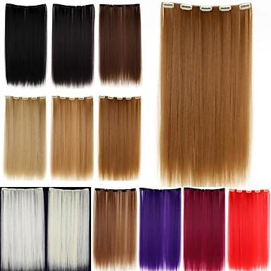 İnsan Saç Uzantıları Düz Klasik Gerçek Saç Postişleri Sentetik Saç Kadın's - Kırmzı Kırmızı Şarap Platin Sarı