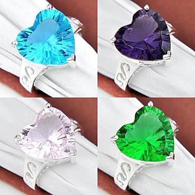 Pentru femei Inel de declarație Mov Verde Albastru Roz Argilă Inimă Nuntă Petrecere Zilnic Casual Sport Costum de bijuterii