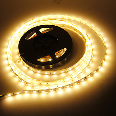 JIAWEN 5m Fâșii De Becuri LEd Flexibile 60 LED-uri 5730 SMD Alb Cald Decorativ / Potrivite Pentru Autovehicule / Auto- Adeziv 12 V 1 buc / IP44