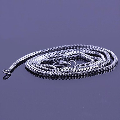 Erkek Uzun Zincir Kolyeler - Paslanmaz Çelik, Titanyum Çelik Basit, Moda Gümüş Kolyeler Mücevher Uyumluluk Hediye, Günlük