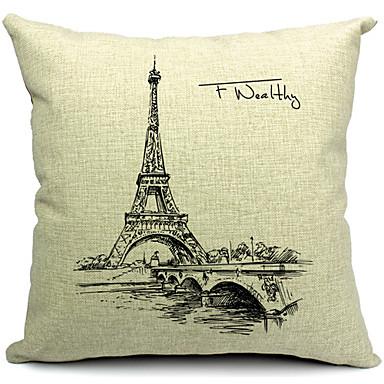 1 adet Pamuk/Keten Yastık Kılıfı,Eiffel Kulesi Modern/Çağdaş