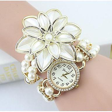 Kadın's Quartz Bilezik Saat imitasyon Pırlanta Alaşım Bant Çiçek / İnci / Zarif / Moda Beyaz / Altın Rengi