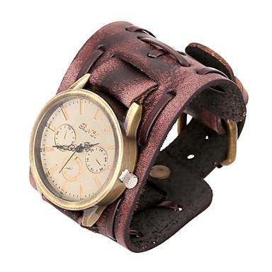 moda 20cm ceas maro bratara din piele pentru bărbați (maro) (1 buc)
