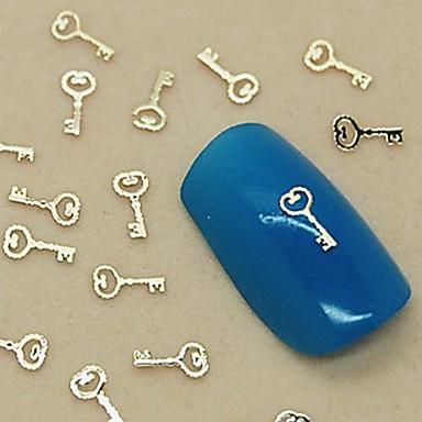 200pcs çekicilik anahtar tasarım altın metal dilim tırnak sanat dekorasyon