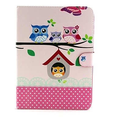 Pentru Samsung Galaxy Carcasă Titluar Card / Cu Stand / Întoarce / Model Maska Corp Plin Maska Bufniță PU piele Samsung Tab 4 10.1