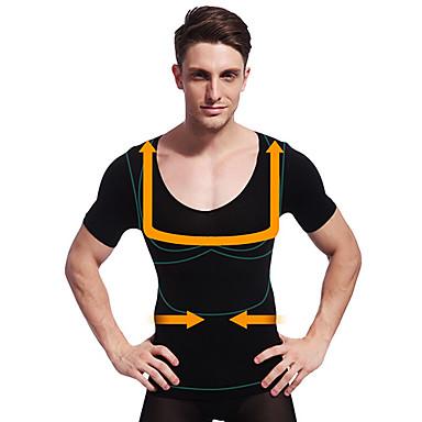 fd5d9002c0 nyári férfi karcsúsító alakformáló rövid ujjú ing has szabályozás fehérnemű  cég has mell fekete ny103