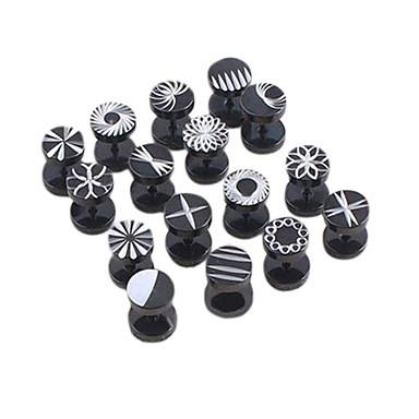 Cerrahi titanyum çelik kazınmış tasarımları tek damızlık küpe lureme®316l (rastgele renk)