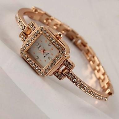 Bayanların Moda Saat Bilezik Saat Quartz imitasyon Pırlanta Alaşım Bant Işıltılı Altın Rengi