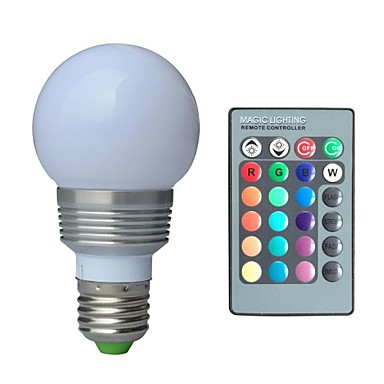 jiawen e27 rgb bec cu led 3w 16 culoare magie lumina de noapte lumina lampă dimmable etapă lumina / 24key telecomandă de vacanță decor ac85-265v