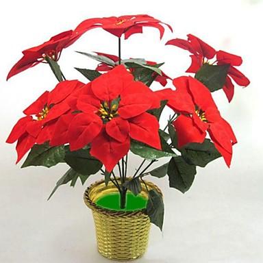 ipek kumaş simülasyon ponsetya 7 başlıklı çiçek