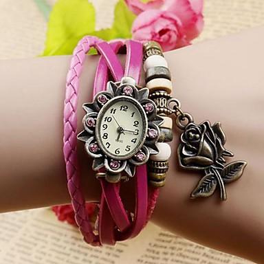 Dames Modieus horloge Armbandhorloge Kwarts PU Band Bloem Bohémien Zwart Blauw Orange Bruin Groen