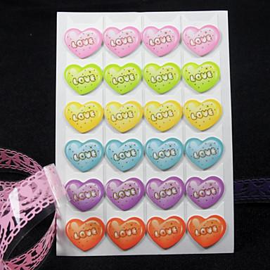 6 culori frige model inima colț fotografie DIY protector autocolant (24 autocolante / buc)