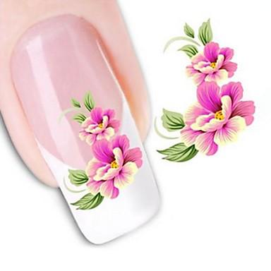 1 Autocollant de transfert d'eau Autocollants 3D pour ongles Fleur Mode Mariage Quotidien Haute qualité