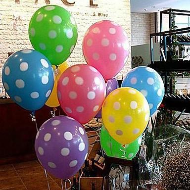 balon colorat cu punct alb - set de 10 (mai multe culori)