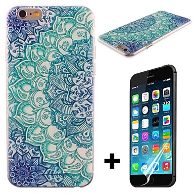 Luminous Blue Lotus Pattern Hard with Screen Protector Cover for iPhone 6