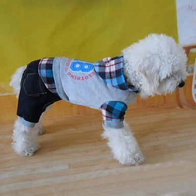 honden Hoodies / Jumpsuits Grijs Hondenkleding Winter / Lente/Herfst Geruit Modieus