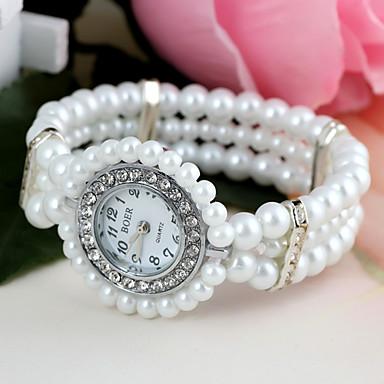 Kadın's Quartz Sahte Elmas Saat Bilezik Saat imitasyon Pırlanta Plastic Bant Çiçek İnci Beyaz