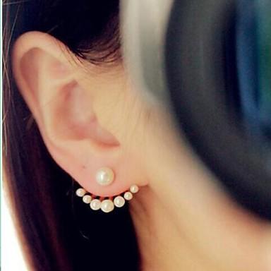 Damen Perle Ohrstecker / Gestlyte Ohrringe Vorne Hinten - Künstliche Perle, vergoldet Simple Style, Modisch Gold / Weiß Für Hochzeit / Party / Alltag