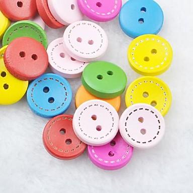 colorido costura recados scraft diy botões de madeira (10 peças de cor aleatória)