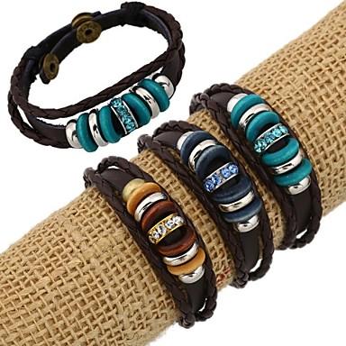 Damen Perlenbesetzt / Glasperlen Strang-Armbänder / Lederarmbänder - Leder, Strass Armbänder Gold / Dunkelblau / Marineblau Für Alltag / Normal
