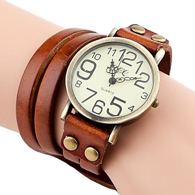 Kadın's Bilezik Saat Gündelik Saatler PU Bant Bohem / Moda Siyah / Beyaz / Mavi