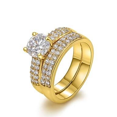Dames Statementringen Birthstones Geboortestenen Kristal Verguld Gesimuleerde diamant Vier punten Sieraden Bruiloft Feest Dagelijks