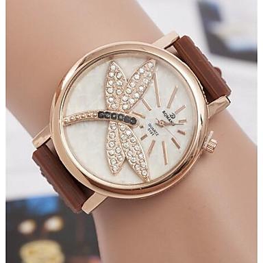 Dames Gesimuleerd Diamant Horloge Kwarts PU Band Wit Bruin Groen Geel roze Wit Geel Roos Bruin Groen