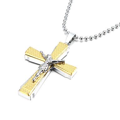 jesus espessura liga de zinco de prata de ouro colar de crucifixo cruz pendente