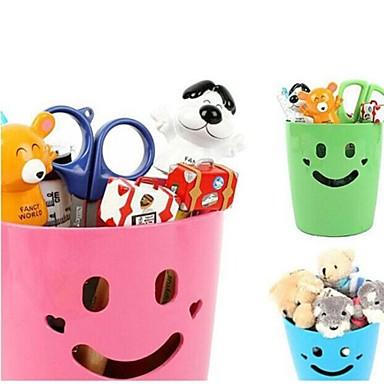 plastic glimlach multifunctionele container opbergdozen (willekeurige kleur)