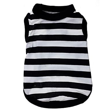 Kedi Köpek Tişört Köpek Giyimi Çizgi Kalp Siyah/Beyaz Terylene Kostüm Evcil hayvanlar için