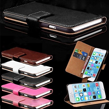Case For Apple iPhone 6 iPhone 6 Plus Card Holder with Stand Full Body Cases Solid Color Hard PU Leather for