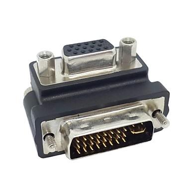 aşağı doğru açılı 90 derece vga svga kadın adaptör ücretsiz kargo rgb 24 + 5 erkek DVI DVI için