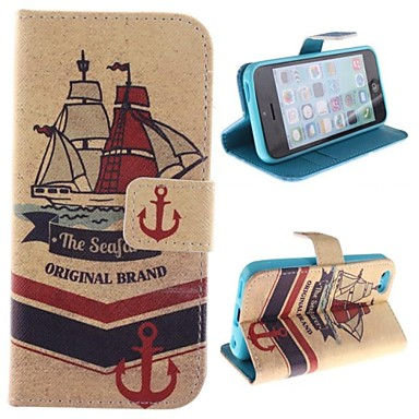 Ship Design PU Full Body Case with Stand with Card Slot for iPhone 5C