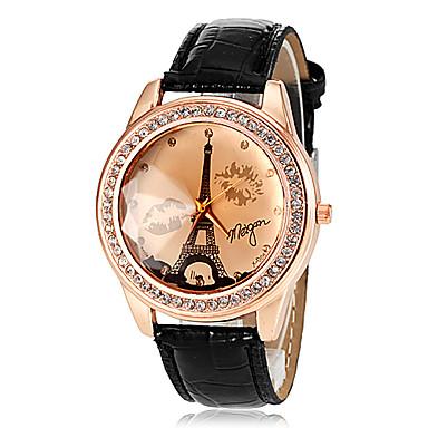 Dames Modieus horloge Kwarts PU Band Eiffeltoren Zwart Wit Blauw Bruin roze Wit Zwart Roos Bruin Rood