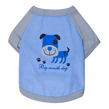 Pisici Câine Tricou Îmbrăcăminte Câini Albastru Bumbac Costume Pentru Primăvara & toamnă