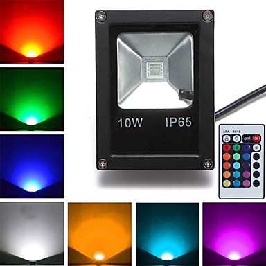 cheap Outdoor Lights-JIAWEN 10W RGB LED Floodlight 1 leds High Power LED Remote-Controlled Black AC 85-265V