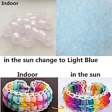 ca. 100pcs hellblau UV-Farbwechsel 6x8mm Pony Perlen Regenbogen Farbe Webstuhl Gummibänder Armband